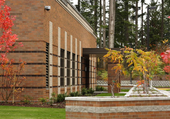 Brick planters in front of entry at Redmond utility building