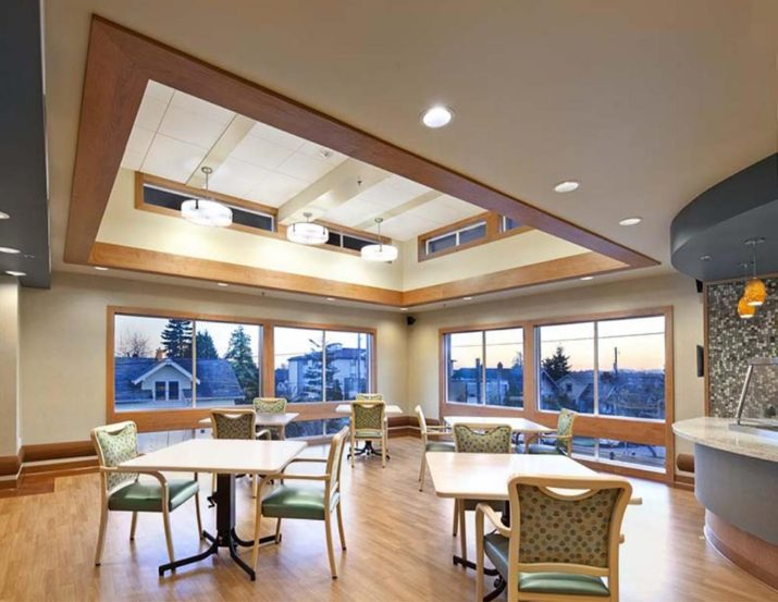 Columbia Lutheran dining room skylights and interior ceiling lighting