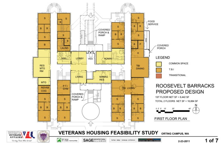 Drawing of proposed design for TBI rehabilitation facility at VA Soldiers' Home