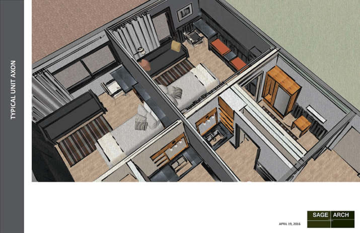Monochrome bird's eye rendering of two private suites with baths and foyer