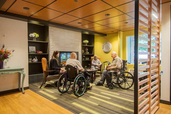 Foss Home residents in lobby