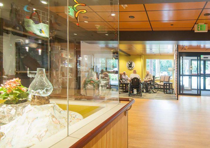 Glass art in lobby