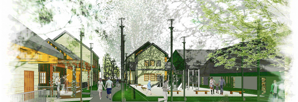 Vashon Multifamily housing rendering of playground and building exteriors