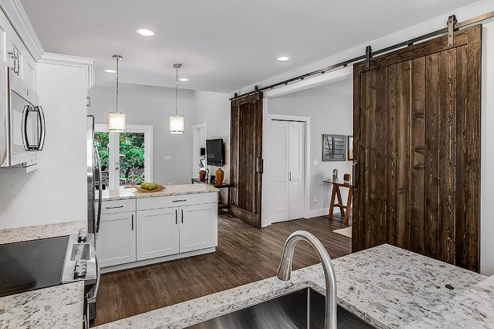 Spiritwood kitchen view with barn door