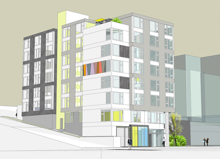 Multifamily Tacoma street corner exterior view